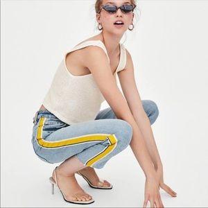 Zara Trafaluc High Waist cropped Mom jeans yellow
